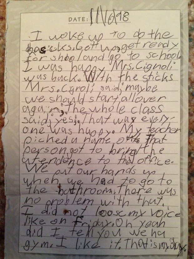 A page from my second grade journal. On this day, I was very excited because my teacher, whom I adored, had been sick and absent for a few weeks, and this was the day she came back.