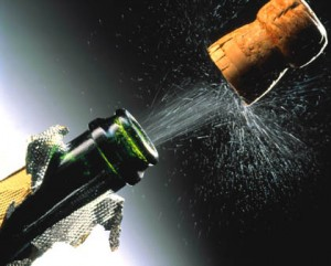 "When reading that ""the cork rocketed,"" you probably simulated something in the upward direction, like this. Image: www.thewinectr.com"