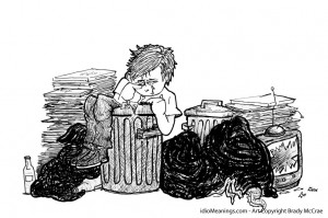 Down in the dumps, literally and metaphorically. Image: idiomeanings.com