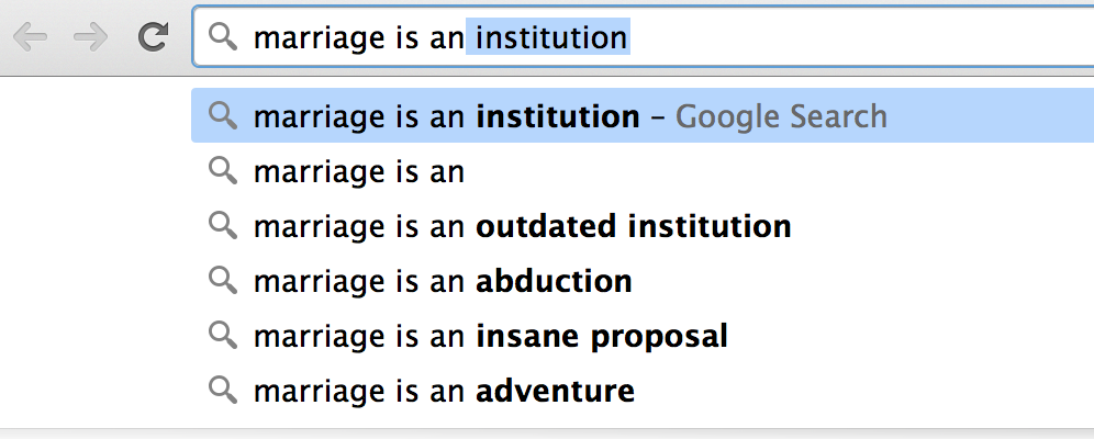 And this is what Google thinks that marriage IS. If this doesn't quell any pre-wedding jitters, I don't know what will.